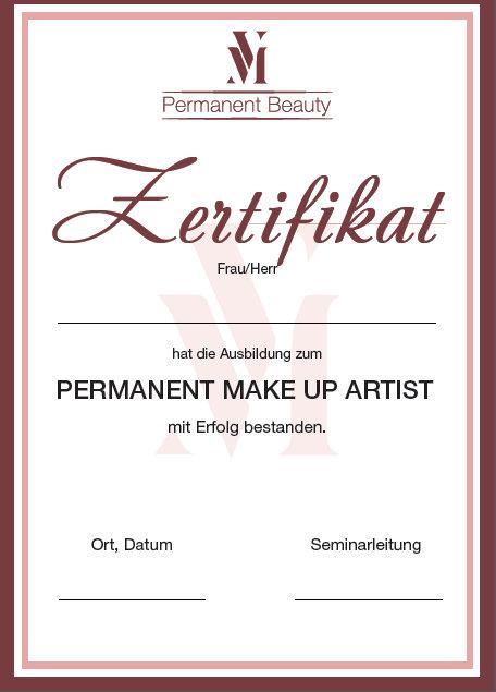 Schulungen Zertifikat Permanent make up