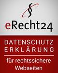Datenschutzerklärung erecht24 siegel datenschutz rot 120x150